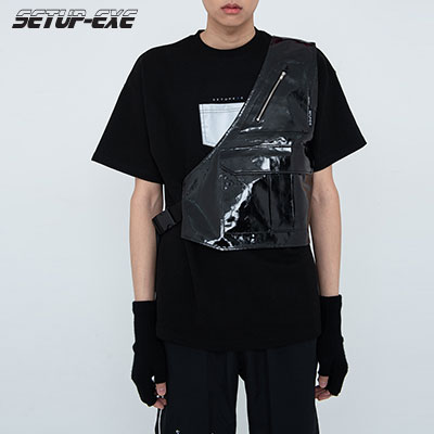 【SETUP-EXE】Enamel one-shoulder Vest - Black