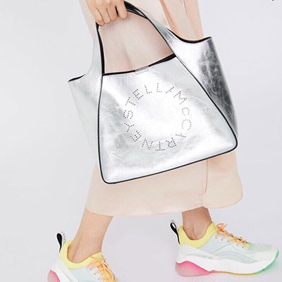 SILVER PUNCHING SHOULDER&TOTE BAG