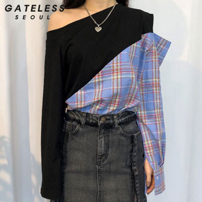 【GATELESS】CHECK MIX OFF-SHOULDER -BLACK