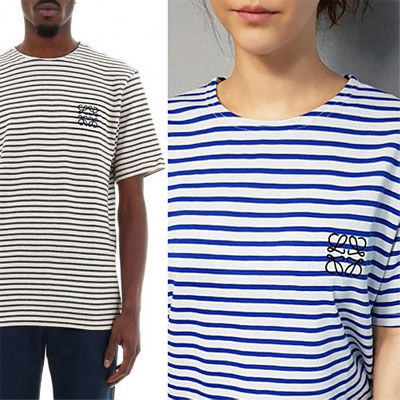 [UNISEX] EMBROIDERED ROPE STRIPED SHORT SLEEVE T-SHIRTS(2color)