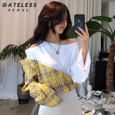 【GATELESS】CHECK MIX OFF-SHOULDER -WHITE
