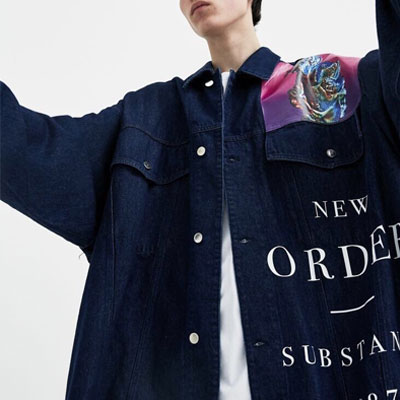 [UNISEX]'NEW ORDER'LOGO OVERSIZE DENIM JACKET