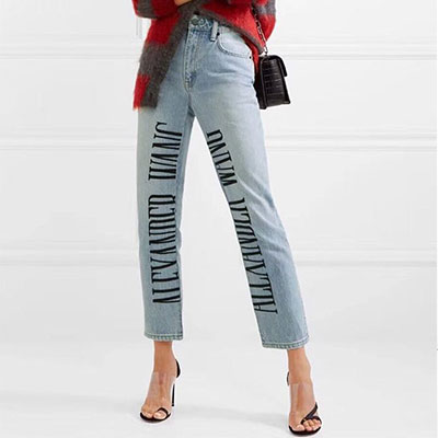 [Ladies]SIDE LETTERING POINT BLUE JEANS(5size)