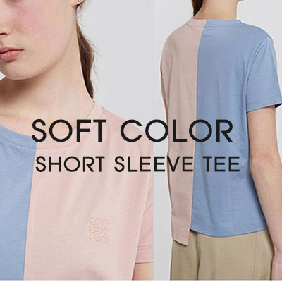 [Ladies]HALF&HALF SOFT COLOR ROPE LOGO SHORT SLEEVE T-SHIRTS