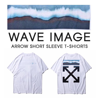 [UNISEX]WAVE IMAGE ARROW SHORT SLEEVE T-SHIRTS-white