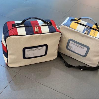 [UNISEX]2TONE STRIPE SQUARE TRAVEL BAG(2color)