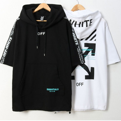 [UNISEX]ARROW & LOGO TAPE SHORT SLEEVE HOODIE(2color/4size)