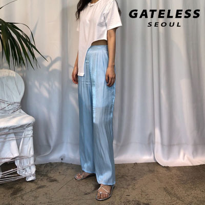 【GATELESS】 CHIFFON WIDE PANTS -BLUE