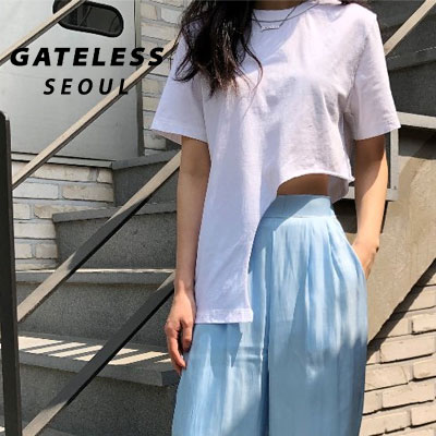 【GATELESS】UNBALANCE CROP Tshirt -White