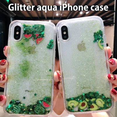 SUMMER GREEN GLITTER AQUA iPHONE CASE (2type)