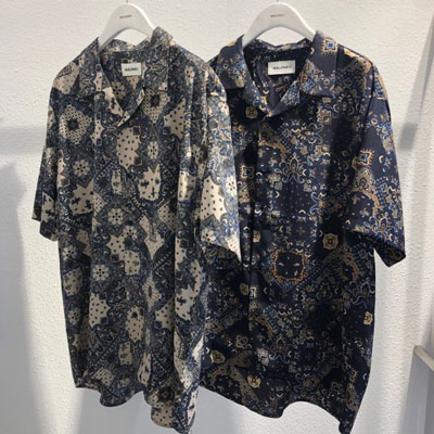 [UNISEX]SQUARE PAISLEY PATERN SHIRTS(4cololr)