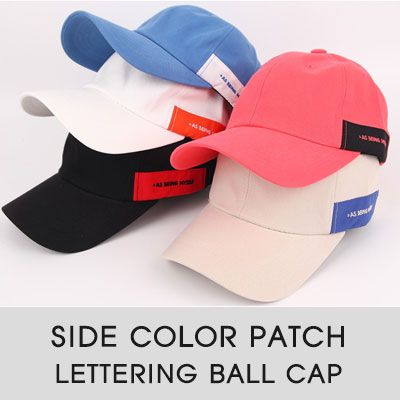[UNISEX]SIDE COLOR PATCH LETTERING BALL CAP(6color)