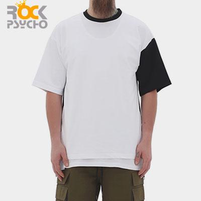 【ROCK PSYCHO】SIDE SLIT RING ZIPPER SHORT SLEEVE T-SHIRTS-white