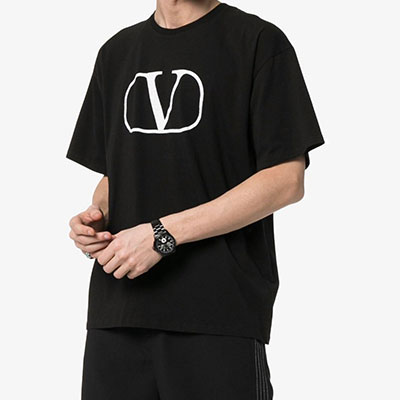 [UNISEX]V&ROUND SQEARE PRINT SHORT T-SHIRTS(2color)