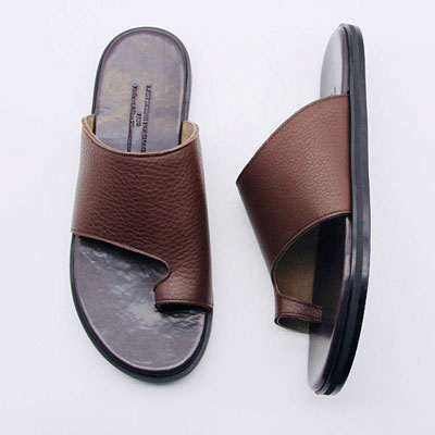 [25.0 ~ 28.0cm] SHRINK LETHER SLIPPER-brown