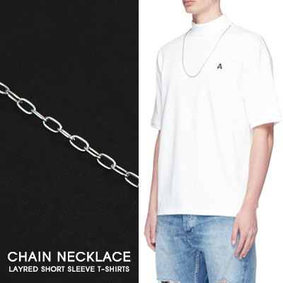[UNISEX]CHAIN NECKLACE LAYRED SHORT SLEEVE T-SHIRTS(2color)
