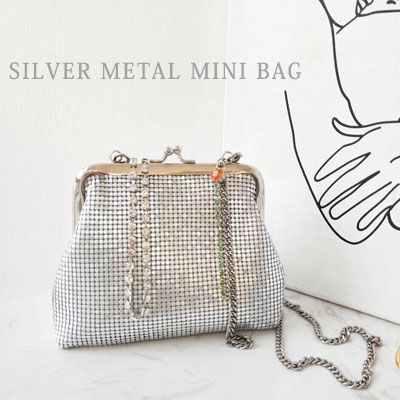 SILVER METAL MINI TOTE BAG/SHOULDER BAG