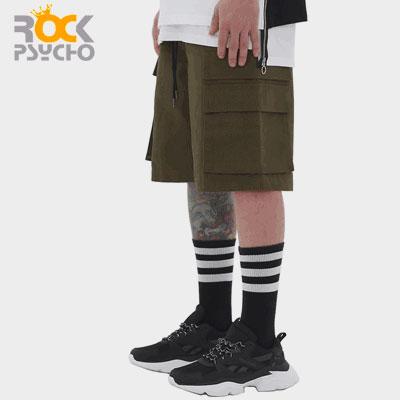 【ROCK PSYCHO】[UNISEX]DOUBLE CARGO HALF PANTS-KHAKI(2size)