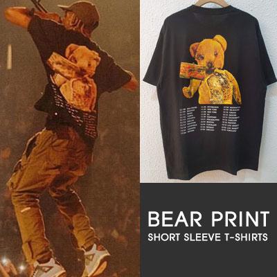 [UNISEX]BEAR PRINT  SHORT SLEEVE T-SHIRTS-BLACK
