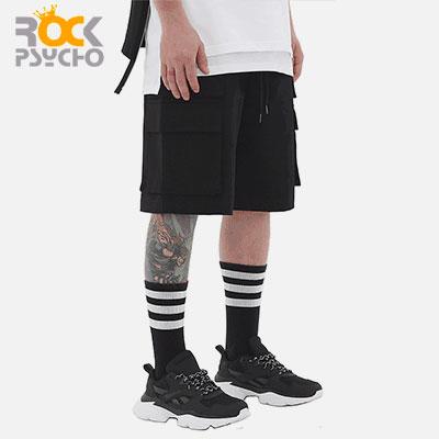 【ROCK PSYCHO】[UNISEX]DOUBLE CARGO HALF PANTS-BLACK(2size)