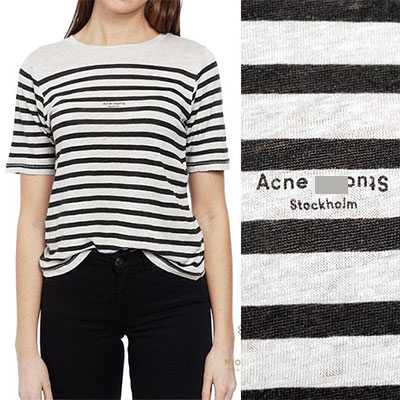 [Ladies]SMALL LOGO POINT STRIPE SHORT SLEEVE KNIT