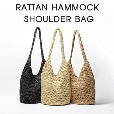 RATTAN HAMMOCK SHOULDER BAG(3color)