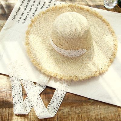 LACE STRAP POINT STRAW HAT