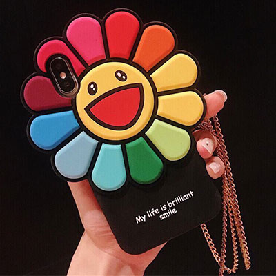 RAINBOW FLOWER BIG FACE PHONE CASE
