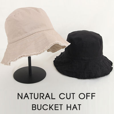 [UNISEX]NATURAL CUT OFF BUCKET HAT(3color)