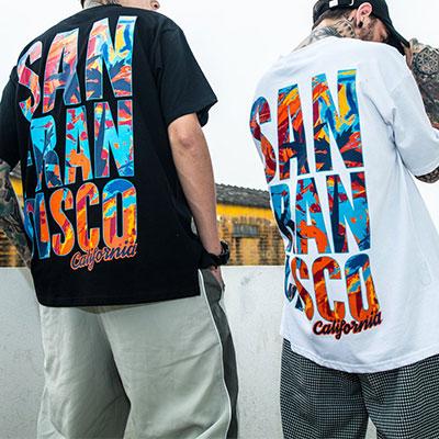 [UNISEX]SAN FRANCISCO MARBLING LOGO SHORT SLEEVE T-SHIRTS(2color)