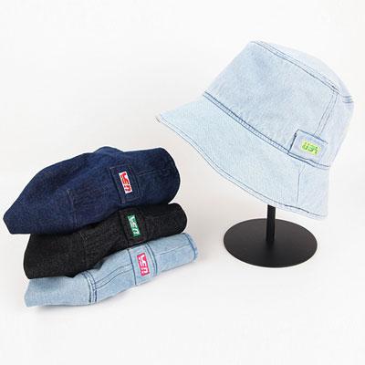 [UNISEX]USA LABEL DENIM BUCKET HAT(4color)