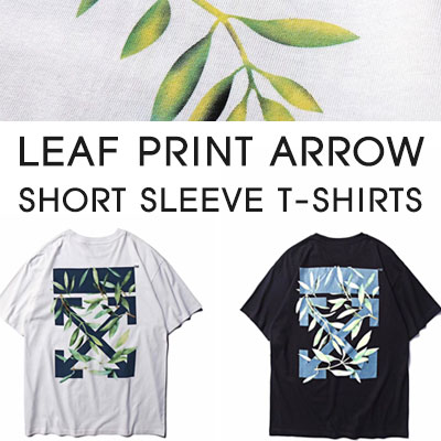 [UNISEX]LEAF PRINT ARROW SHORT SLEEVE T-SHIRTS(2color)