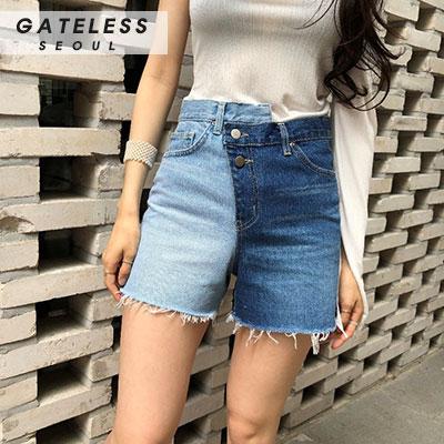 【GATELESS】TWOTONE DENIM HALF PANTS(3size)