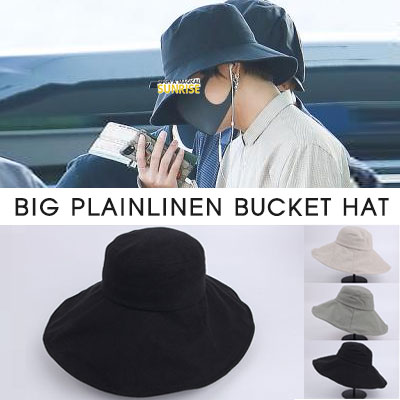 BTS 防弾少年団 V TAEHYUNG st.BIG PLAIN LINEN BUCKET HAT(3color)