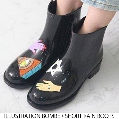 [22.5 ~ 25.0cm] ILLUSTRATION BOMBER SHORT RAIN BOOTS