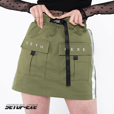 【SETUP-EXE】Reflective tape Skirt - khaki