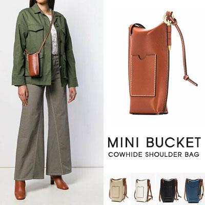 [UNISEX]MINI BUCKET COWHIDE SHOULDER BAG(5color)
