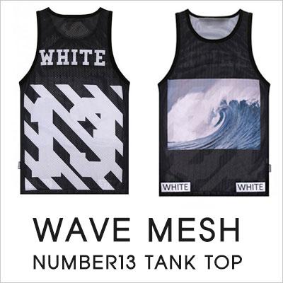[UNISEX] WAVE MESH NUMBER13 TANK TOP (2color)