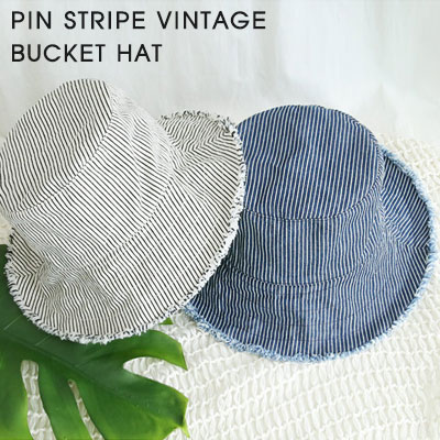 [UNISEX]PIN STRIPE VINTAGE BUCKET HAT(2color)