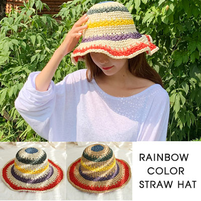 RAINBOW COLOR STRAW HAT(2color)