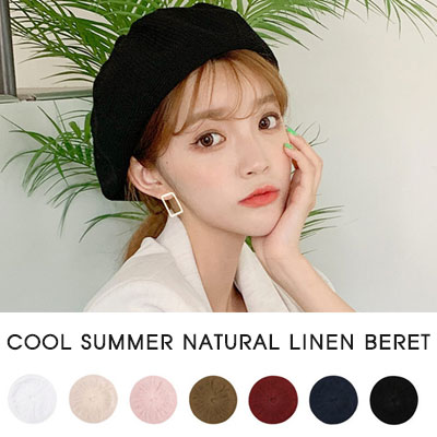 [UNISEX]COOL SUMMER NATURAL LINEN BERET(7color)