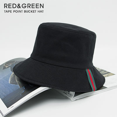 [UNISEX]RED&GREEN TAPE POINT BUCKET HAT(3color)