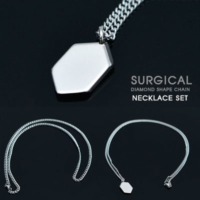 [SURGICAL STEEL] DIAMOND SHAPE CHAIN NECKLACE SET