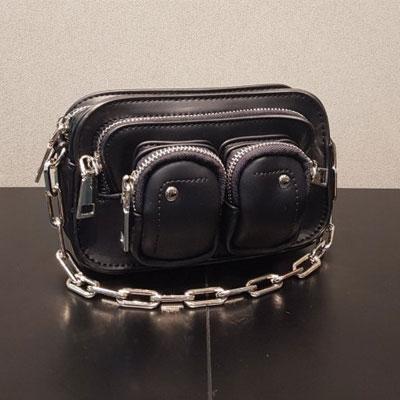 [UNISEX]DOUBLE POCKET BIG CHAIN MINI BAG
