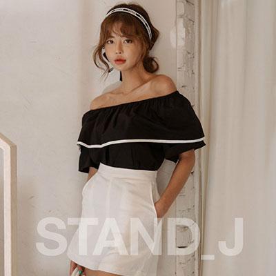 [STAND_J]OPEN SHOULDER COTTON TOP BLOUSE(3color)