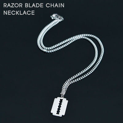 [UNISEX]SURGICAL STEEL RAZOR BLADE CHAIN NECKLACE