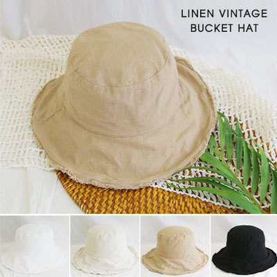 [UNISEX]LINEN VINTAGE BUCKET HAT(4color)