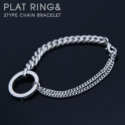 PLAT RING & 2TYPE CHAIN BRACELET(2type)