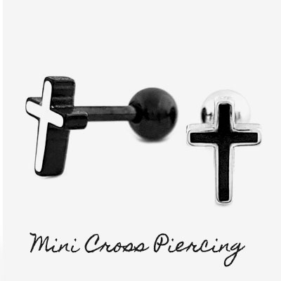 [SURGICAL STEEL]  [1ea] MINI CROSS PIERCING(2color)