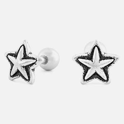 [SURGICAL STEEL]  [1ea] ANTUQUE MINI STAR PIERCING